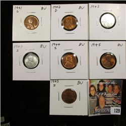 1941 S, 42 D, 43 P, 43 S, 44 S, 45 P, & 45 S Lincoln Cents. All Gem BU.