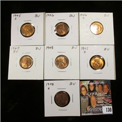 1945 S, 46 P, S, 47 P, 48 P, D, & S Lincoln Cents. All Gem BU.