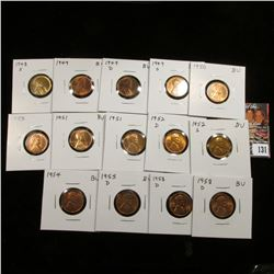 (16) Assorted BU Lincoln Cents: 1948 S, 49 P, D, S, 50 P, (2) D, (2) 51 P, 52 D, S, 53 D, 54 P, 55 D