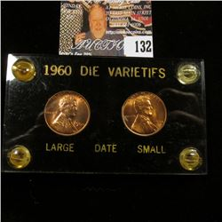 1960 P Small & Large Date Lincoln Cents in a black Capital holder with gold lettering.