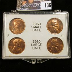 1960 P & D Small & Large Date Lincoln Cents in a white Snaptight case with gold lettering.