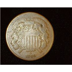 1865 U.S. Two Cent Piece, VG.