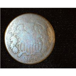 1871 U.S. Two Cent Piece, AG-Good.