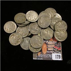 (21) Different Buffalo nickels: 1918S, 19S, 20D, & S, 23S, 25S all Goods; 21P, 24P, 28 P, D, S, 29 D