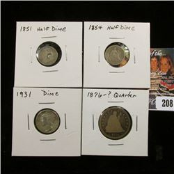1851 U.S. Seated Liberty Half Dime, 1854 U.S. Seated Liberty Half Dime, 1931 P Mercury Dime, & 1876