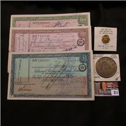 """(3) Different Traveller's Cheque from London, England: 5 Pound, 10 Pound, & 20 Pound; """"Department of"""