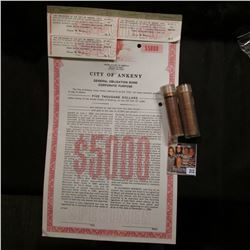 """""""Specimen $5000 City of Ankeny General Obligation Bond Corporate Purpose"""", three attached coupons; 1"""