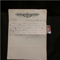"Nov. 4, 1886 Hannibal, Missouri ""Farmers & Merchants Bank"" Letter on Letter head signed by Jonathan"