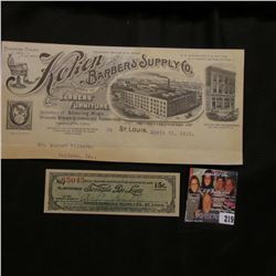 "Original Letterhead ""Koken Barber's Supply Co. Manufacturer's of Barbers; Furniture…1913"" & an origi"