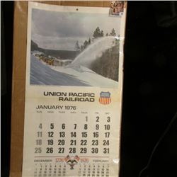 """""""Union Pacific Railroad 1976"""" Calendar depicting """"Plowing the West Yellowstone Branch, Idaho"""" Color"""