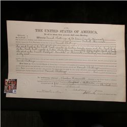 """Sept. 26, 1905 """"The United States of America To all to whom presents shall come, Greeting: Whereas D"""