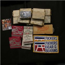 "(12) Stainless Steel Razor Boxes ""B-C-Co. Milwaukee Pat. Appl'd For""; (2) ""Tuckers Gear & Bearng"" Cl"