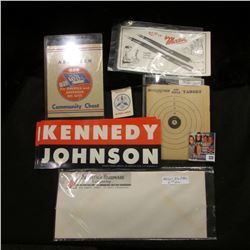 "(6) ""Kennedy/Johnson"" Campaign Stickers; (2) ""Keen Kutter"" return addressed envelopes from ""Shapleig"