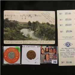 """Post Card """"Lincoln's Ranch, Aberdeen, S.D.""""; encased WW II 1943 Steel Cent """"Put.A.Penny Coin…People'"""
