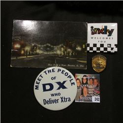 """1911 Post card """"Main Street at Night, Aberdeen, So. Dak.""""; large Pinback """"Meet the People of DX who"""