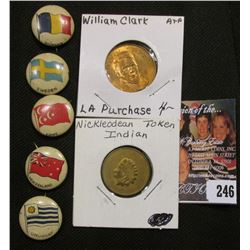 Group of (5) different Pinbacks depicting flags of Roumania, Egypt, New Zealand, Sweden, & Uruguay;