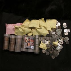 Approximately $20 face value in Roosevelt Clad dimes, many sorted by date; (43) Old Buffalo Nickels;