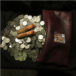 (836) Mixed U.S. Washington Quarters, &Solid date rolls of 1950 P & D U.S. Wheat Cents in a zippered