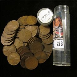 Roll of (50) 1910 P Lincoln Cents in a plastic tube. Circulated.