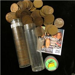 1917 & 1955 Solid Date Rolls of U.S. Lincoln Cents in a pair of plastic tubes.