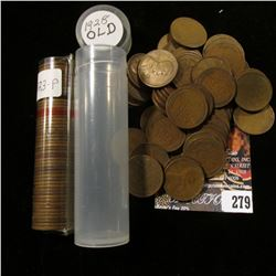 1923 & 1928 Solid Date Rolls of U.S. Lincoln Cents in a pair of plastic tubes.