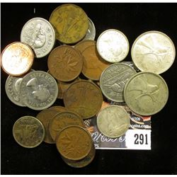 Group of Canada: (10) Cents, (7) Nickels; (3) Silver Dimes; & (2) Silver Quarters.