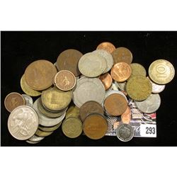 (50) Unsorted Foreign Coins, at least one is Silver.