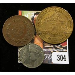 1861-1961 Mother City of the Dakotas, Yankton, S.D. Medal; 1934 Mo Mexico Five Centavos, VF; & 1914R