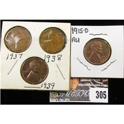 1915 D AU, 37P, 38P, & 39P EF Lincoln Cents.