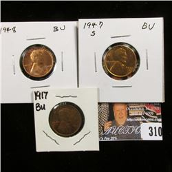 1917 P Red-Brown Uncirculated; 1947 S Gem Red BU; & 48 P Gem Red BU Lincoln Cents.