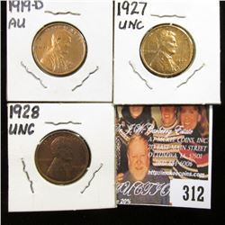 1919 D AU; 27 P AU, & 28 P Uncirculated Lincoln Cents.