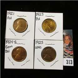 1921 P, 23 P, 24 S, & 25 P Lincoln Cents, all AU-BU.