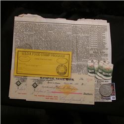 Sheet of an old German Newspaper with Advertising; (2) 1900 era checks with gold Internal Revenue St