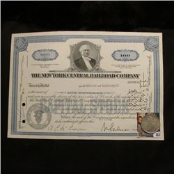 "Stock Certificate for 100 Shares of ""The New York Central Railroad Company""; & 1923 P U.S. Peace Sil"
