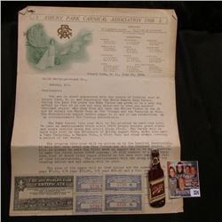 "Rare Schlitz Beer Bottle metal Pin-back; 1908 letter from ""Asbury Park Carnival Association"" speakin"