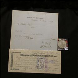 """Feb. 5, 1909 check """"Treasurer of the City of Goldfield, Colorado…by order of the City Council"""", stam"""
