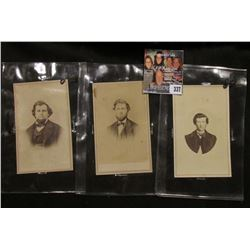 (3) Small Black & White Photos of Civil War Era individuals with Revenue Stamps attached to the reve