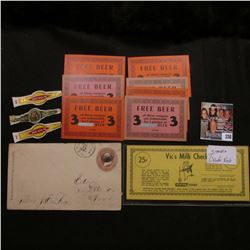 "(3) mint condition Cigar Bands; (6) two type ""Free Beer"" tickets from ""H. Jacobsen 2401 Cuming""; ""De"