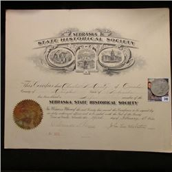 "Large Certificate from February 3rd, 1912 ""Nebraska State Historical Society"" signed by President Jo"