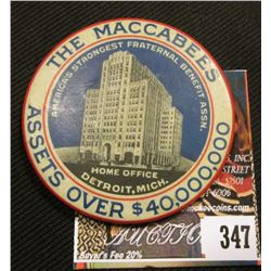 """Celluloid Advertising Mirror """"The Maccabees Assets over $40,000,000/America's Strongest Fraternal Be"""