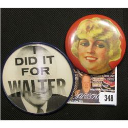 "Celluloid Advertising Mirror depicting a blonde Starlet; & a vari-vue Political Pin-back ""I Did it F"