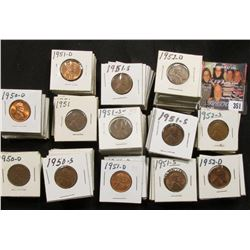 "1 1/2"" x 1 1/2"" double row box of 1950 D to 52 D Lincoln Cents in holders. Box measures 3 1/8"" x 6 1"