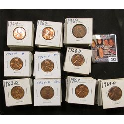 "1 1/2"" x 1 1/2"" double row box of 1963 to 73 S Lincoln Cents in holders. Box measures 3 1/8"" x 6 1/4"