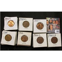 "1 1/2"" x 1 1/2"" double row box of 1944 to 45 D Lincoln Cents in holders. Box measures 3 1/8"" x 6 1/4"