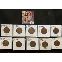 "1 1/2"" x 1 1/2"" double row box of 1909 P to 14 P Lincoln Cents in holders. Box measures 3 1/8"" x 6 1"