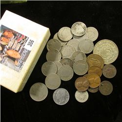Small cardboard box of miscellaneous Coins, including (2) Indian Cents (one holed); (4) Foreign Coin