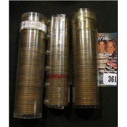 1920 P, 26 P, & 55 S Solid date Rolls of Lincoln Cents in plastic tubes.