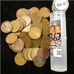 (55) 1918 Mixed Mint Mark Lincoln Cents, Circulated. Stored in a plastic tube.