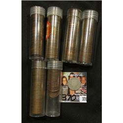 (22) VF-AU 1975 P Cents in a tube; (5) Solid Date Rolls of Wheat Cents dating back to 1920 and store