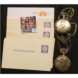 (13) Prestamped, unused Postal Cards, mint condition; Andre Rivalle 17 Jewels Pocket Watch in huntin
